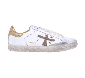 """Sneaker Premiata """"Steven"""" in pelle  Bianco / Oro"""