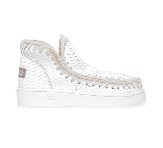 Stivaletto MOU Eskimo Sneaker in pelle intagliata effetto rettile Bianco