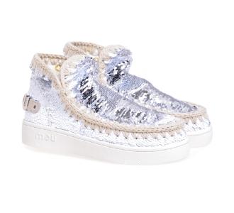 Stivaletto MOU Eskimo Sneaker Sequins Bianco