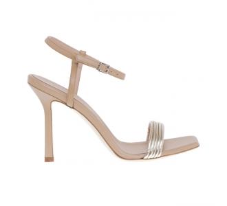 Sandalo Sergio Levantesi in pelle con tacco 100 mm Cipria