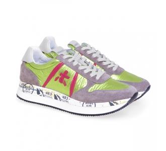 Sneaker Premiata Tris in camoscio e tessuto Grigio / Lime