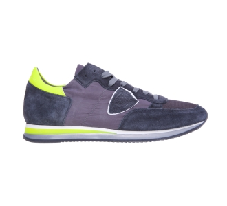 "Sneaker philippe model ""tropez"" in nylon e camoscio  Antracite"