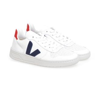 Sneaker VEJA V-10 in pelle  Bianco - Blu - Rosso