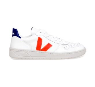 Sneaker VEJA V-10 in pelle Bianco - Arancio - Blu