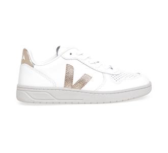 Sneaker VEJA V-10 in pelle  Bian/oro
