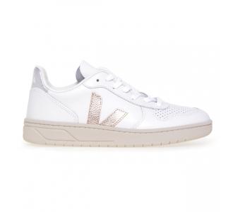 Sneaker Veja V-10 in pelle  Bianco-oro
