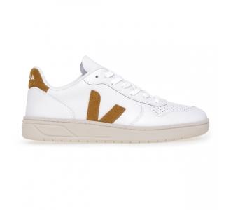 Sneaker Veja V-10 in pelle  Bianco - Cuoio