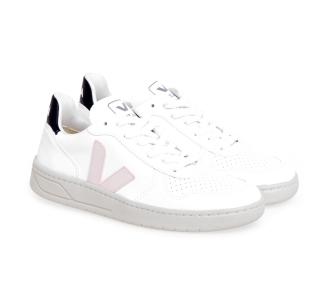 Sneaker VEJA V-10 in pelle Bianco - Rosa - Nero