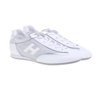 Sneaker Hogan Olympia in pelle e tessuto Bianco