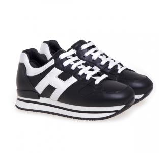 Sneaker Hogan H222 in pelle  Nero - Bianco