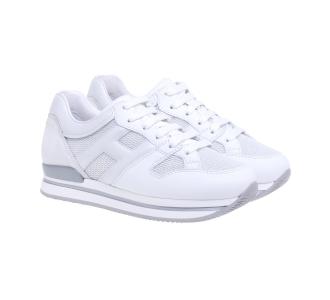 Sneaker Hogan H222 in pelle e tessuto retinato  Bianco
