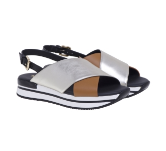Sandalo Hogan in pelle con fasce incrociate  Platino - Cuoio