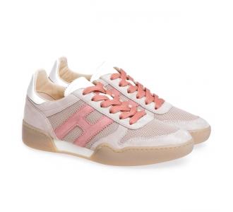 Sneaker Hogan H357 in camoscio e tessuto  Beige