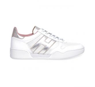 Sneaker Hogan H357 in pelle e tessuto  Grigio