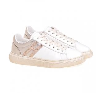 Sneaker Hogan H365 in pelle con paillettes Panna