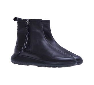 Sneaker alta hogan in pelle con zip  Nero