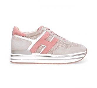 Sneaker Hogan H222 Midi in camoscio e tessuto  Beige