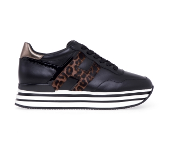 Sneaker hogan midi platform in pelle e cavallino maculato Nero - Maculato