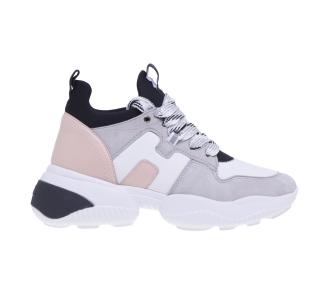 "Sneaker hogan ""interaction"" in camoscio e pelle  Bianco - Grigio"