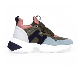 Sneaker hogan interaction in camoscio e tessuto Salvia