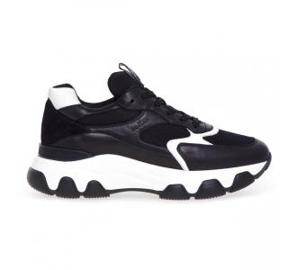 Sneaker Hogan Hyperactive in pelle e tessuto  Nero - Bianco