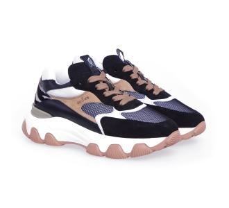 Sneaker hogan h540 in camoscio e tessuto con talloncino in cavallino zebrato Nero - Beige