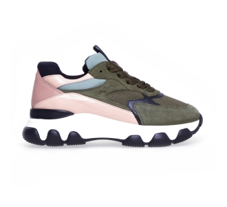 Sneaker hogan h540 in camoscio e tessuto  Verde