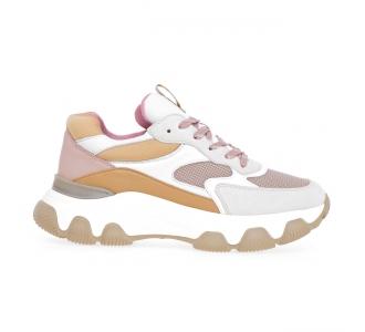 Sneaker Hogan Hyperactive in pelle e tessuto Beige - Cuoio - Cipria