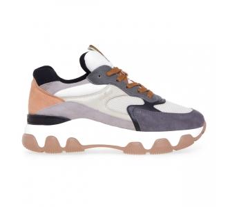 Sneaker Hogan Hypractive in camoscio e tessuto  Grigio - Beige