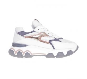 Sneaker Hogan Hyperactive in nabuk e tessuto Bianco - Bronzo