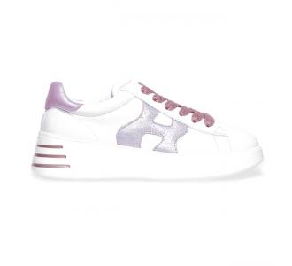 Sneaker Hogan Rebel in pelle  Bianco - Rosa