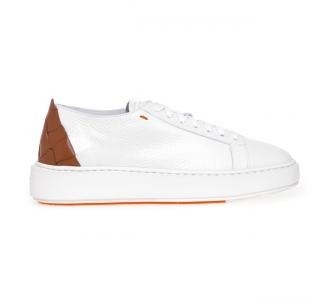 Sneaker Santoni 'Cleanic' in pelle con intreccio sul tallone Bianco - Marrone