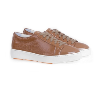 Sneaker santoni cleanicon in naplack Camel