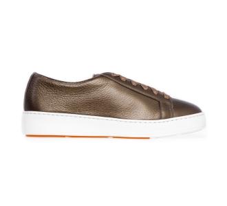 Sneaker Santoni CleanIcon in pelle laminata  Oliva