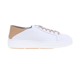 """Sneaker santoni """"cleanic"""" in pelle con tallone destrutturato con colore a contrasto Bianco"""