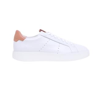 """Sneaker santoni """"wide"""" in pelle con talloncino a contrasto Bianco-cipria"""