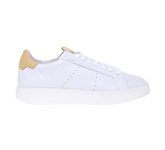 "Sneaker Santoni ""wide"" in pelle con talloncino a contrasto Bianco - Giallo"