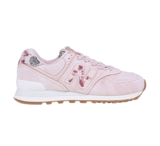 Sneaker New Balance 574 in canvas delavè con stampe floreali  Rosa