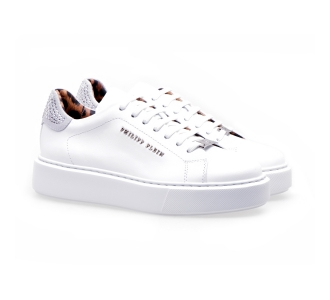 Philipp plein lo-top sneakers leather con strass Bianco