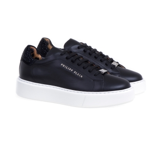 Philipp plein lo-top sneakers leather con strass Nero