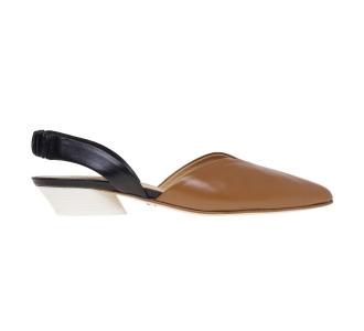 Chanel Halmanera in pelle bicolore con tacco cono 30 mm  C. Fuc.-nero